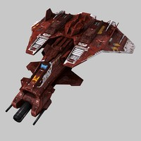 scifi fighter s6 polys 3d obj