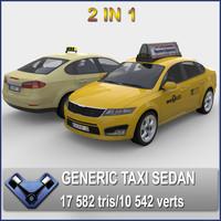 generic sedan madeon taxi 3d max
