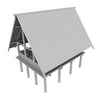 stilt house 3d model