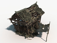 3d model chinese small destructive wooden house