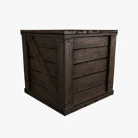 3d model low-poly wooden crate