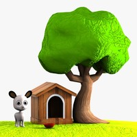 3d cartoon dog doghouse