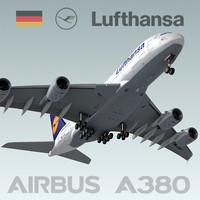 3d airbus a380 lufthansa model
