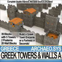 ancient greek towers walls obj