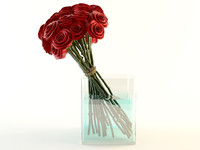 3ds max red roses bouquet