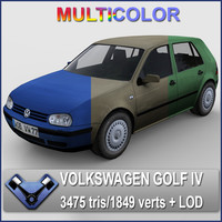3ds max multicolor volkswagen golf -