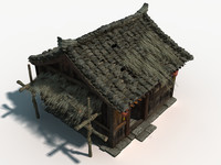 chinese small wooden house 3d max