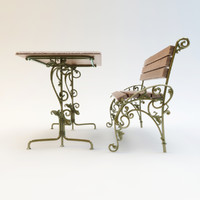 wrought-iron bench table 3d obj