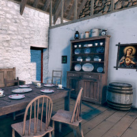 3d old irish cottage