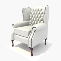 3d seater classic chair texturing model