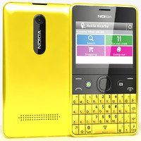 3d nokia asha 210 yellow model