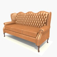 3d model 3 seater leather classic sofa