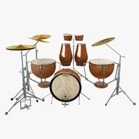drum set kit percussion 3d model