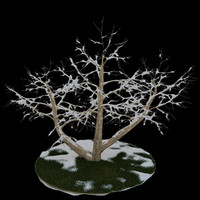 3ds max tree 4 branches snow