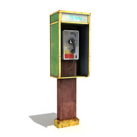 3d model low-poly phonebooth
