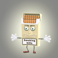 cool cartoon cigarette pack 3d model