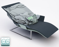 chaise blanket pillows 3d model