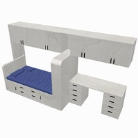 3d model of bed unit desk