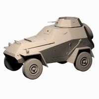 russian 1945 ba64 armored car 3d model