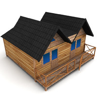 large wooden house 3d model