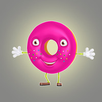 cartoon donut 3d lwo