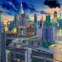 Cartoon City Scene