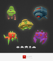 space invader set 3d model