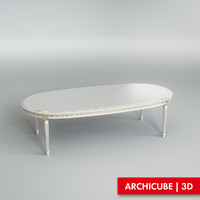 white table dining 3d model