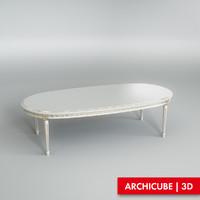 white table dining 3d model