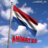 3d model netherlands flag wind