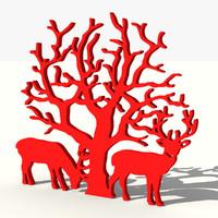 3d tree reindeers