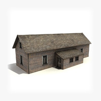 3d low-poly old wooden house building model