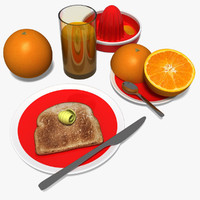 3d model orange juice breakfast