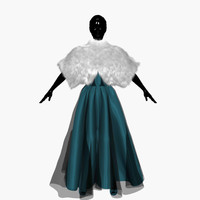 3ds max dress turquoise manto