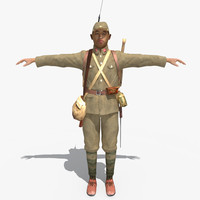 3d obj japanese soldier