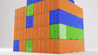 shipping container stack 3d model