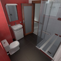 3d model washroom accessories window