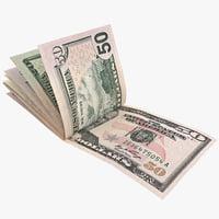 paper dollars 3 3d model