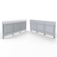 3d model of wooden wood fence