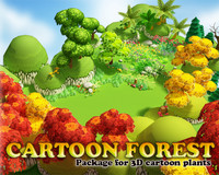 3d model of trees flower forest