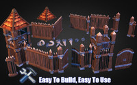 wooden fortress pack fort 3d model