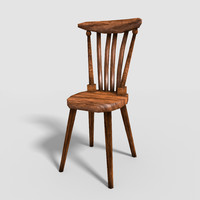 obj old wooden chair