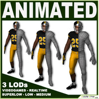 Football Player With 3 LODs For Videogame