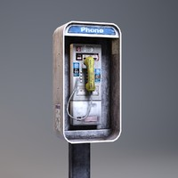 3d payphone low-poly phone