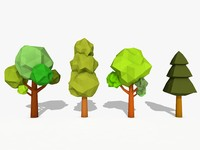 cartoon trees 3d obj