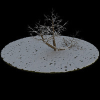 3ds max tree 5 branches snow