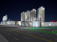 commercial area 3d model