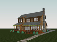 Revit Wooden house with full furniture