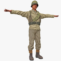 3d american wwii infantry soldier model