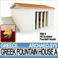 3d ancient greek fountain house model